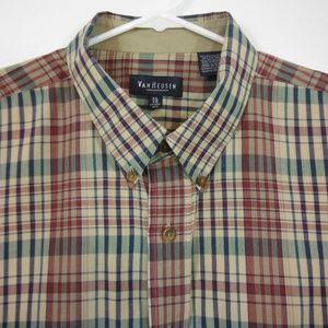Van Heusen Brown Plaid Button Down SS Shirt - XL